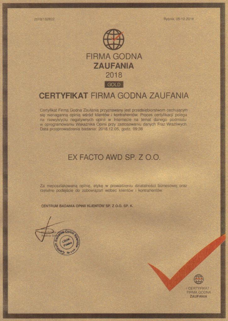 Certyfikat Firma Godna Zaufania GOLD 2018